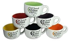 Francois et Mimi 14-Ounce Colored Ceramic Coffee/Soup Mugs, Large, Cafe Europa, Set of 6