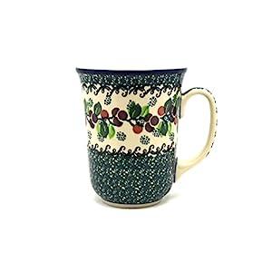 Polish Pottery Bistro Mug – 16 Oz – Burgundy Berry Green
