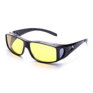 Wrap Around Style Polarized Night Driving Glasses to Wear Over Prescription Glasses (Black, Yellow)