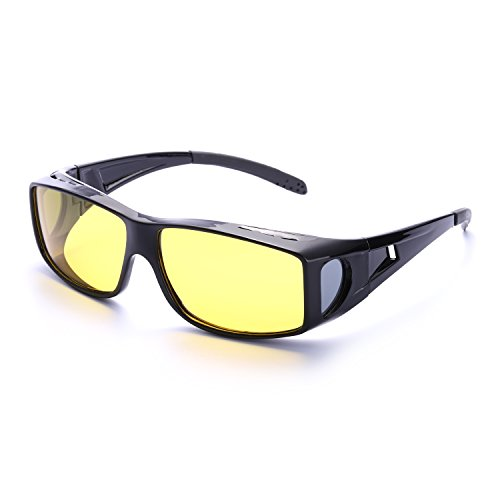 Wrap Around Style Polarized Night Driving Glasses to Wear Over Prescription Glasses (Black, - Sunglasses Over Best Rx