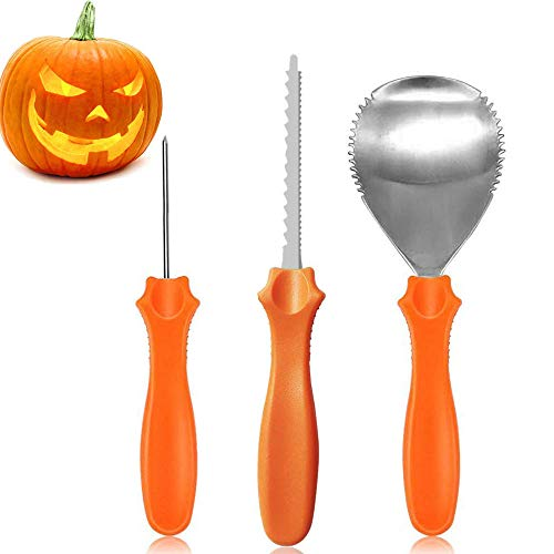 Set of 3 Professional Pumpkin Carving Kit Pumpkin Carving Tools Pro Level Heavy Duty Stainless Steel Pumpkin Carving Kit Sets Jack-O-Lanterns Tools