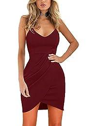 Womens Dresses Elegant Sexy Deep V Neck Sleeveless Irregular Bodycon Party Dress