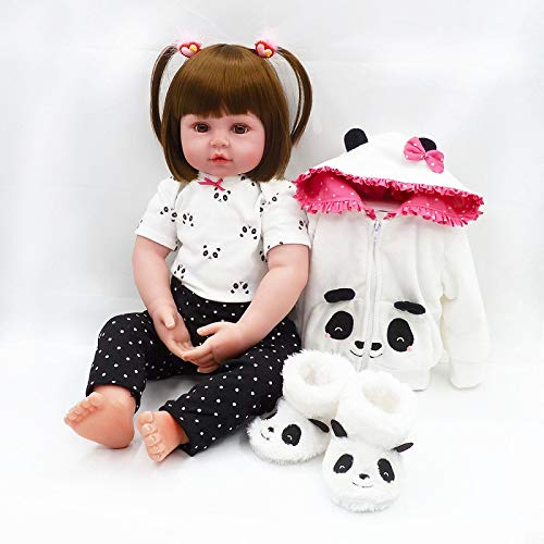 (iCradle 18Inch 45cm Handmade Lovely Soft Silicone Reborn Baby Girl Doll Realistic Looking Newborn Vinyl Dolls Toddler Toy for Kid Xmas Gift)