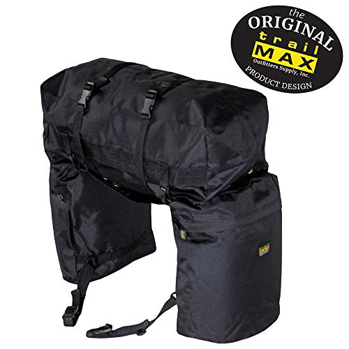 TrailMax Original Saddlebags for Horse Trail Riding with Detachable Cantle Bag, 600-denier Machine Washable, Weather/UV Resistant PVC-Backed Polyester, Black