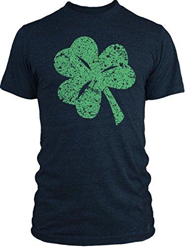 Vintage Shamrock Tri Blend (Big Texas Distressed Shamrock (Green) Vintage Tri-Blend T-Shirt, Indigo,)