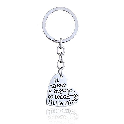 "Best Teacher Gift ""It Takes a Big Heart to Help Shape Little Minds"" Charm Love Heart Pendant Keychain (New love heart shape Keychain)"