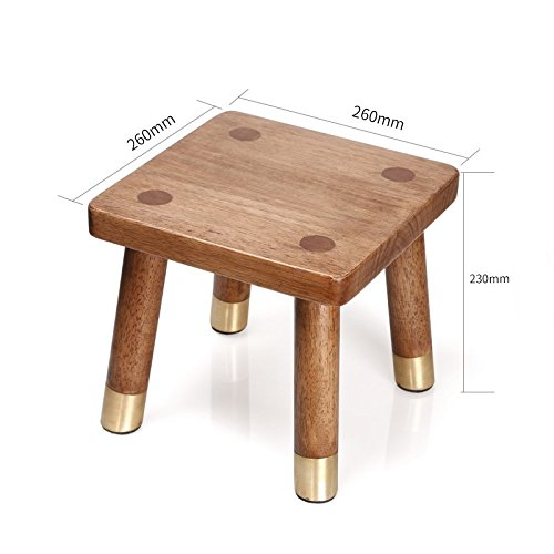 WENJUN Copper Wood Furniture Solid Wood Household Small Chair Fashion Change Shoe Bench Square Stool Bathroom Stool Rubber Wood Foot Washing Soaking feet Stool by WENJUNdengzi (Image #2)