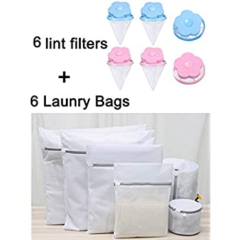 EVERMARKET Set of 6 Laundry Bags with 6 Reusable Washing Machine Floating Lint Mesh Bag Portable Washer Lint Catcher, Hair Filter Net Pouch, Washer Hair Catcher (12 Pack Kit)