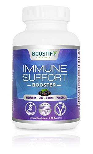 Elderberry Immune Support Booster with Zinc - Herbal Dietary Supplement with Vitamin C, Probiotics, Antioxidant - Women & Men's Daily Immune System Health - Made in USA Gluten Free Vegan 60 Capsules