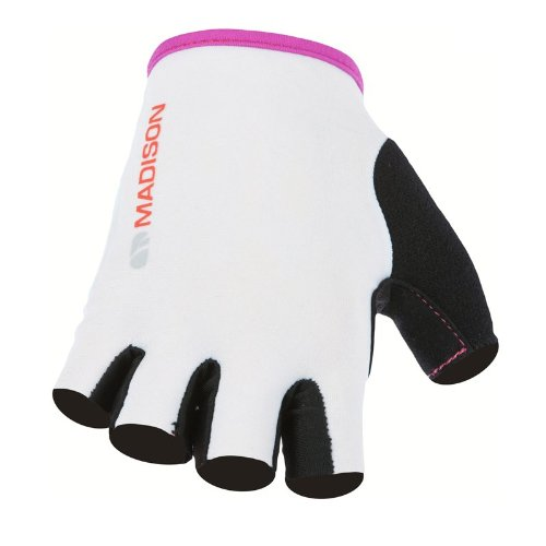 Madison Track Mitts Fingerless Gloves White / Dewberry Small