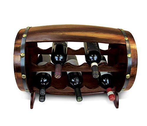 Puzzled Napoleon Wine Rack 10 Bottle Free Standing Wine Holder Bottle Rack Floor Stand Or Countertop Wine Wooden Barrel Decor Storage Organizer Liquor Display to Decorate Home Kitchen Bar ()