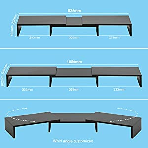 FITUEYES Dual Monitor Stand Wood Black Swivel Length Adjustable PC Laptop Computer Screen Riser 92.5×23.5×10.2cm…
