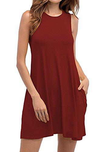 Mujer mangas Vestido Bolsillos Fiesta O Sin Grande Camiseta de con Cuello Talla Loose Vestido Rojo de de Vino Casual Noche pqrtwOpFB
