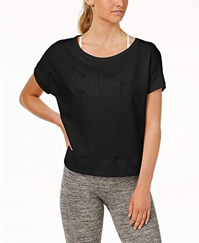 Calvin Klein Women's Open-Back Cropped T-Shirt Black Small ()