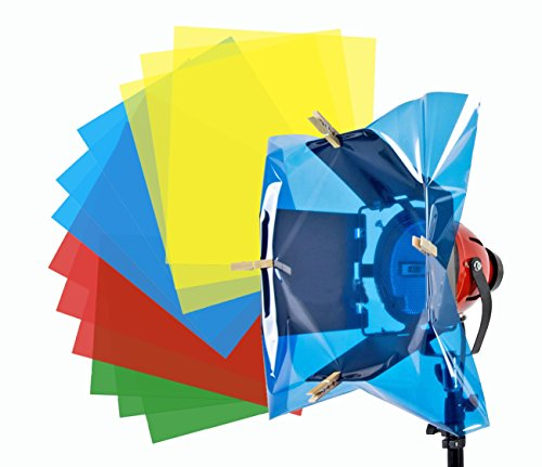 Selens 12 Pack 15.8X19.7inch/40X50cm Gels Color Filter Paper for Photo Studio Red Head Light Strobe Flashlight with 10 Wooden Clips Dark Red/Blue/Green/Fluorescent Yellow by Selens
