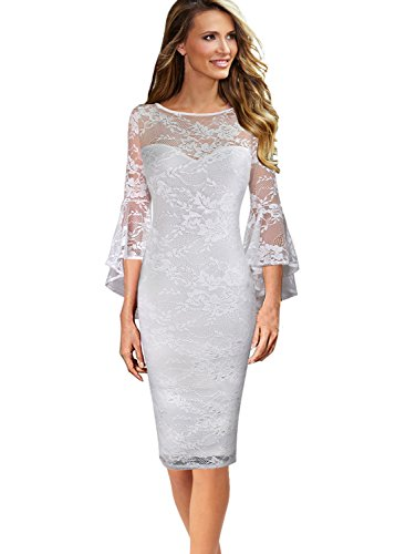 9ca6fd2e VfEmage Womens Elegant Bell Sleeve Wear To Work Party Cocktail Sheath Dress  9230 Wht S