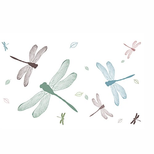 Fangeplus R DIY Removable Colorful Hand Painted Dragonfly Art Mural Vinyl Waterproof Wall Stickers Kids Room Study Room Company Decor Nursery Decal Sticker Wallpaper 59''x98.4'' - Hand Painted Nursery Murals