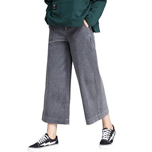 Sunfan Corduroy Cropped Wide Leg Pants Women's Elastic Waist Culotte Corduroy Pants w/Side Pockets (Flare Cotton Corduroys)