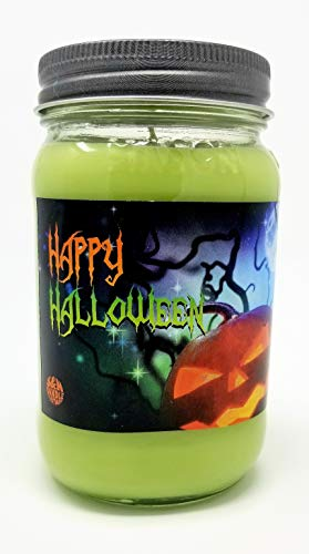 Happy Halloween 3 Wick Scented Soy Wax 12oz, 14.5oz, and 16oz Candles ~ 75 to 100 Hour Burn Time ~ Aromatherapy Soy Candles ~ Non-Toxic ~ Made in USA (16, Green (Trick or Treat))