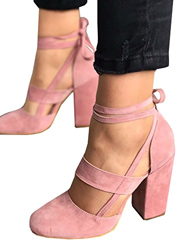 Doubleal Women Sexy High Heel Pumps Cusp Toe Suede Straps Thick High Heeled (Leather And Velvet Pump)