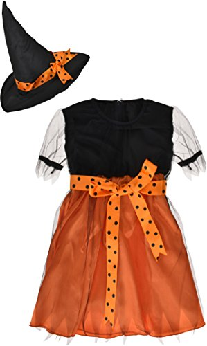 ZOEREA Girls Witch Costume Accessory Fairy Halloween Cosplay Party Fancy Dress (Witch Girl Costume)