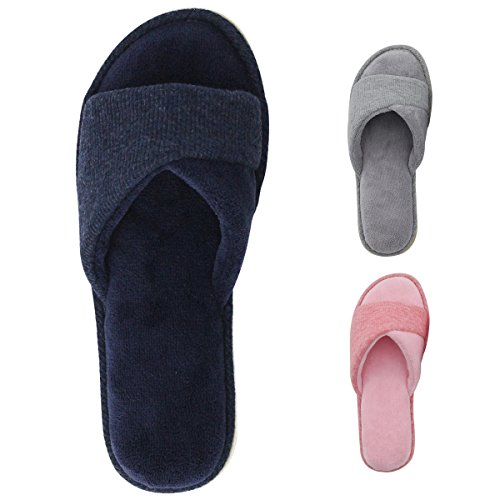Price comparison product image HomeIdeas Women's Open Toe Terry Anti-Slip House Slide Slippers (Medium / 7-8 B(M) US,  Navy Blue)