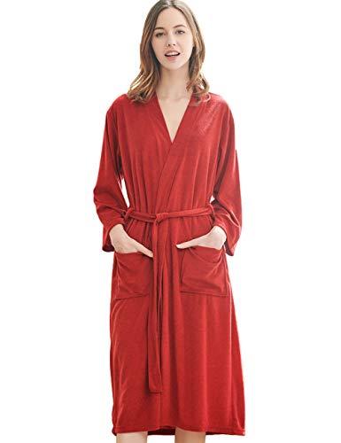 DGGLIFE Women's Terry Cloth Robes Lightweight Knee Length Bathrobe Short Spa Kimono Thin Ladies Soft Summer Nightwear Sleepwear Red