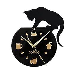 Nclon Cartoon Wall clock,Mute silent quiet Cute Climbing cat Drinking coffee Wall clock Living room Bedroom-black 30cm
