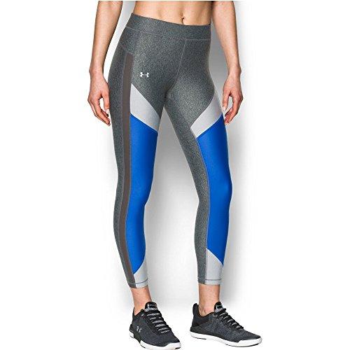 Under Armour Women's HeatGear Color Blocked Ankle Crop Pants,Carbon Heather /Metallic Silver, Large ()
