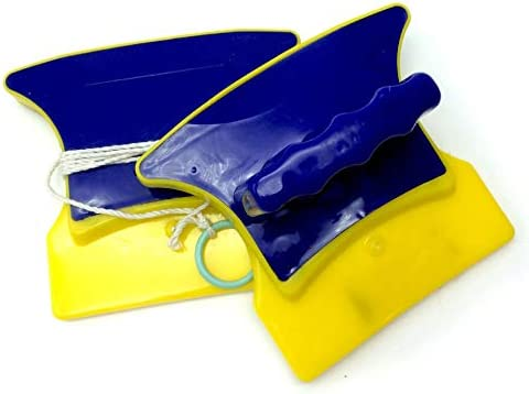 Triamisu Productos Sanitarios Limpiacristales de Doble Cara Limpiacristales Limpiacristales magnético - Amarillo y Azul: Amazon.es: Hogar