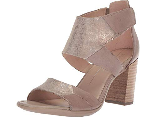 ECCO Women's Women's Shape 65 Block Ankle Strap Heeled Sandal, Dune/Moon Rock, 39 M EU (8-8.5 US)