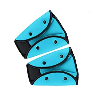 Seatbelt Adjuster for Kids,2 Pack Car Seatbelt Safety Cover Triangle Positioner for Short People,Firm Auto Shoulder Neck Strap Adjuster,Protective Safety Strap Adjuster Pad Harness (Blue)