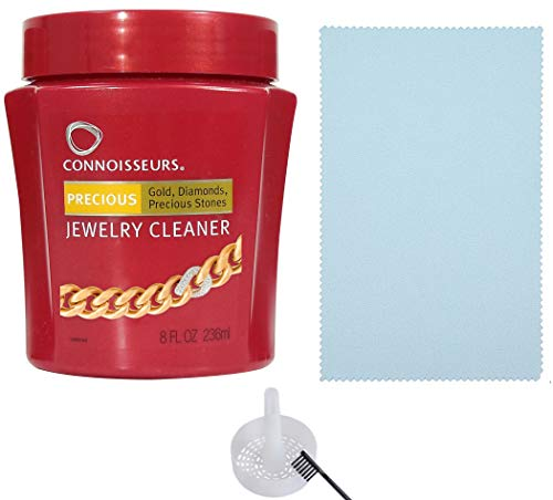 Price comparison product image Connoisseurs Jewelry Cleaner for Diamond,  Platinum & Precious Stones with Bonus Ultra Soft Polishing Cloth,  Basket and Brush (Precious Jewelry Cleaner & Polishing Cloth,  Pack of 2)