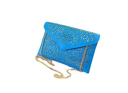 Cdet Überdachte PU-Leder koreanische Version der Kette Messenger Bag hohle Handtasche Paket Umschlag Tasche 30*20 cm (Blau) Blau