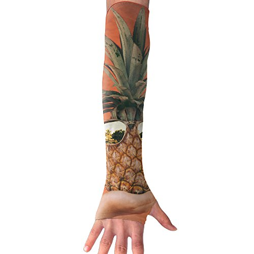 Funny Pineapple With Sunglasses UV Protection Cooling Arm Sleeves For Men Women Sunblock Cooler Protective Sports Gloves Running Golf Cycling Basketball Long Tattoo Cover - Sugarloaf Glass