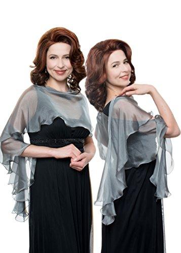 Grey Evening Wedding Silk Chiffon Scarf Wrap Shawl by Lena Moro