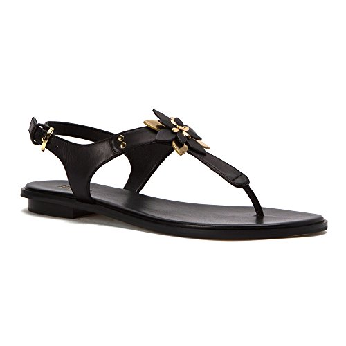 (MICHAEL Michael Kors Women's Heidi Thong Black Mini MK Logo PVC/Vachetta)