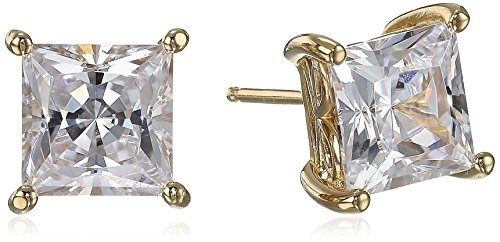 (Yellow Gold Plated Sterling Silver Stud Earrings set with Princess Brilliant Cut Swarovski Zirconia (4 cttw))