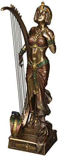 XoticBrands Decorative 10.83 Inch Cleopatra with Egyptian Harp-Home Accent Sculpture Figurine, ((H) 7 1/4 - Egyptian Harp