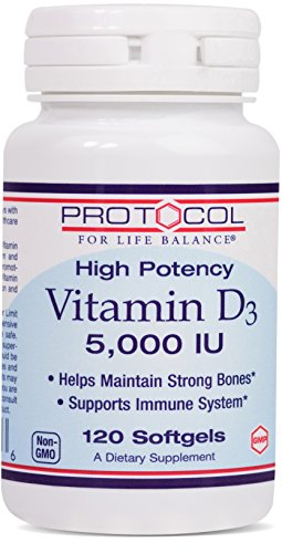Protocol For Life Balance   Vitamin D3 5 000 Iu   High Potency   Supports Calcium Absorption  Bone And Dental Health  Immune System Function  Nervous System    Cognitive Function   120 Softgels