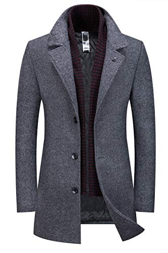 Chartou Men's Wool Blend Gentlman Winter Midi Busiess Jacket Trench Coat (Grey, X-Large) -
