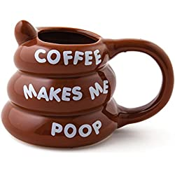 BigMouth Inc Coffee Makes Me Poop Mug, Funny Gag Gift, 14 oz Brown Ceramic Coffee Mug
