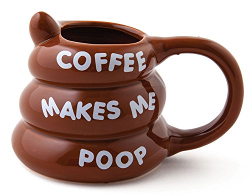 (BigMouth Inc Coffee Makes Me Poop Mug, Funny Gag Gift, 14 oz Brown Ceramic Coffee Mug)