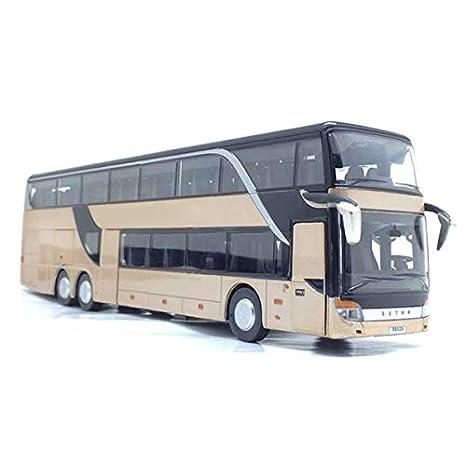 1 MAyouth Bus-Spielzeug-Modell f/ür Kinder 32 Legierung Double Layer Bus Pull Back Modell Netter Nachtansicht Sammler Der Cast Fahrzeuge Mold-Spielzeug