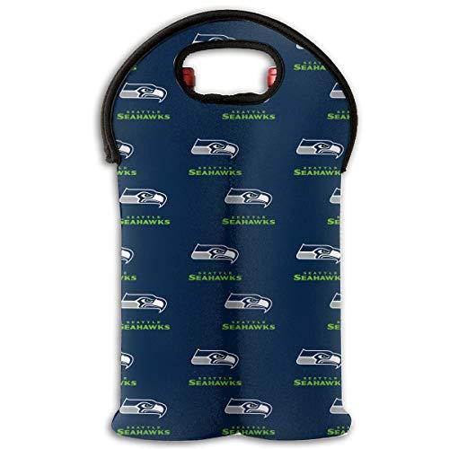 (Jerrymoaus Seattle Seahawks Wine Carrier Tote Bag- Durable Neoprene Wine/water Bottle Tote (2 Bottle))