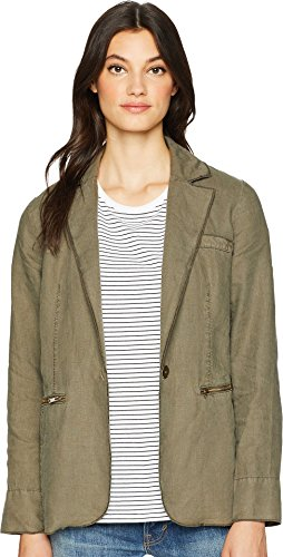Michael Stars Women's Woven Linen Deconstructed Blazer Camo Large -