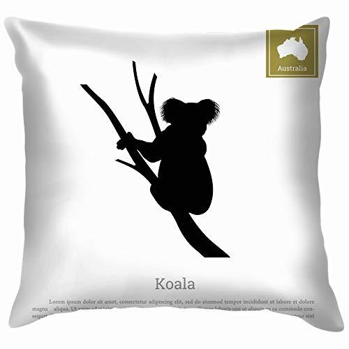 Black Silhouette Koala On White Animals Wildlife Nature Throw Pillows Covers Accent Home Sofa Cushion Cover Pillowcase Gift Decorative 12X12 Inch -