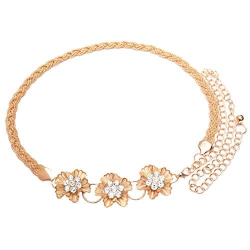 FENICAL Cinturón de cadena de flores de cristal Cinturón de boda Cinturón de cadena de cintura para el vestido para...