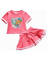 Indepence Life Little Girls' 2 Piece Paw Patrol T-Shirt Set Girls Cartoon Suit Skirt Set Size 2-7T