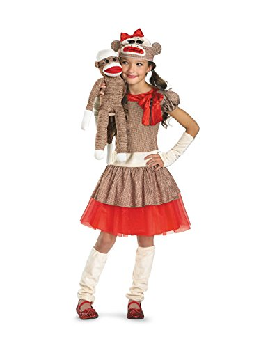 - Disguise Sock Monkey Girl Costume, Beige/Brown/Red, Medium/7-8